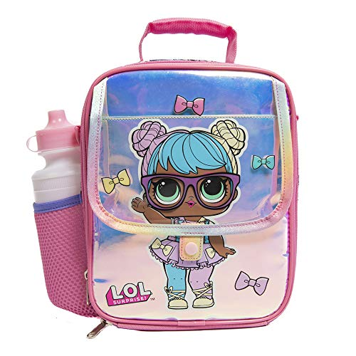LOL Lunchbox for Girls with Adjustable Shoulder or Backpack Strap and Water Bottle Included