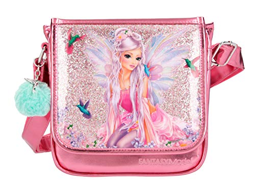 Depesche 10852 Kleine Umhängetasche für Mädchen im FANTASYModel Fairy Design in pink, ca. 23 x 20 x 6,5 cm, mit verstellbarem Tragegurt und Magnetverschluss