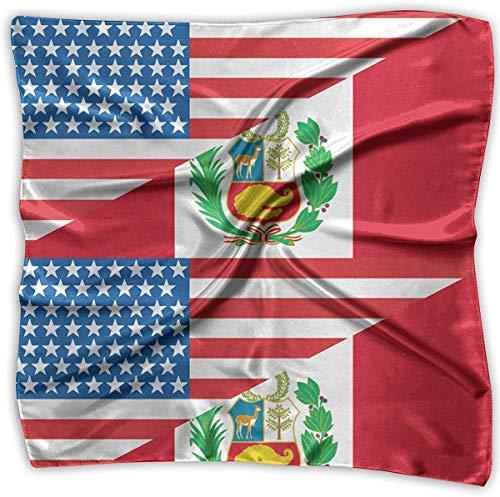hgdfhfgd Half USA Half Peru Flag Men Women Silky Scarf Handkerchief Bandana Wrap Scarf