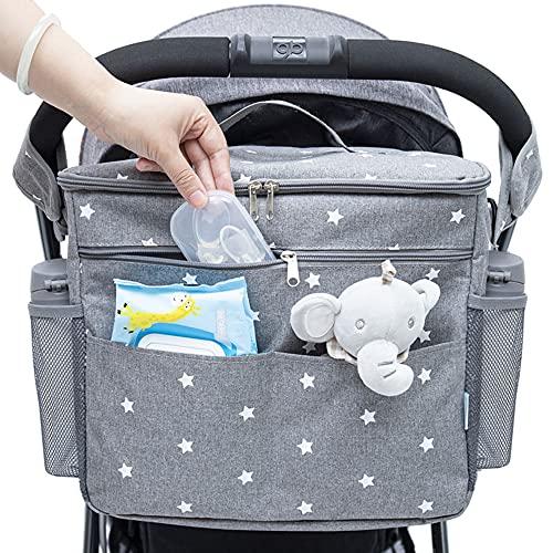 Orzbow Bolso Carro Bebé Universal, Bolsa Organizadora de Cochecitos para Mamá,Almacenamiento de Pañales bolsa de mensajero o un Bolso de mano y mochila para Mamá - 35 x 31 x 19 cm (estrella gris)