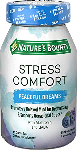 Stress Comfort Melatonin Gummies by Nature's Bounty, Peaceful Dreams, Dietary Supplement with GABA, Sleep Aid with Support for Occasional Stress, Blueberry Lavendar Flavor, 42 Gummies