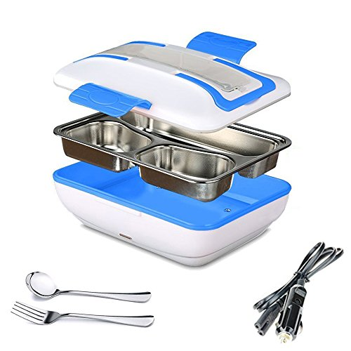 SUPOW Car Electric Lunch Box, Self Heating Lunch Box Bento Meal Heater Portable Car Food Warmer Stainless Steel Lunch Containers with Car Adapter(Blue)