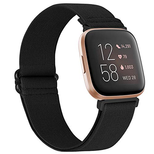 WNIPH Adjustable Elastic Watch Bands Compatible with Fitbit Versa/Versa Special Edition/Versa 2/Versa Lite Stretchy Nylon Strap Sports Loop Replacement Wristband for Women Men (Black)