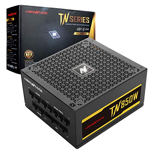 ABKONCORE TN850W GM PC Power Supply 850W, 80+ Gold Certified, Full Modular, 12V Single Rail, 135mm Quiet Cooling Fan, ECO Friendly, Active PFC, 10 Year Assurance PSU for Gaming and Other Applications