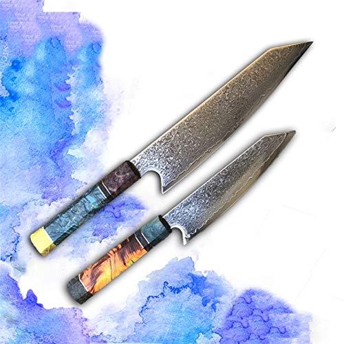 Cuchillo de chef Cuchillo de chef con mango de madera, conjunto de cuchillos de chef de acero de Damasco. (Color : TWO KNIFE SET)
