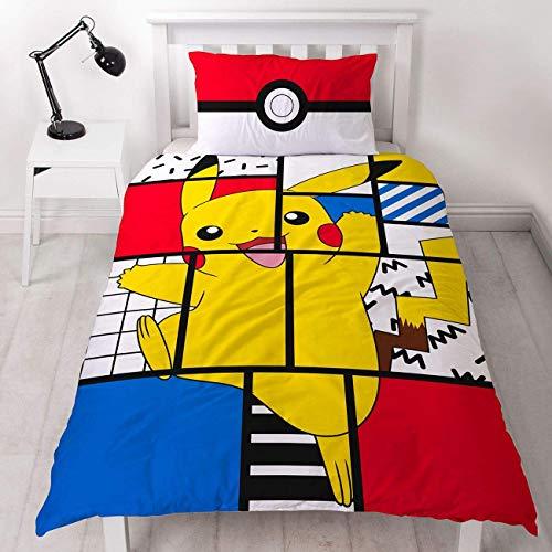 Character World Pokemon Pikachu Einzelbett-Bettbezug, offizielles Lizenzprodukt, wendbar, Pokeball, zweiseitig, Super Memphis Design mit passendem Kissenbezug, Polyester