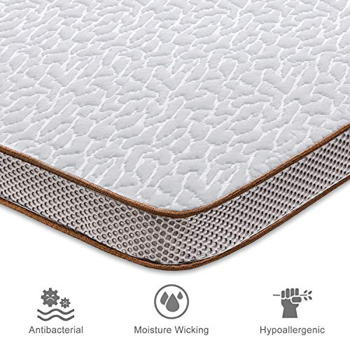 """BedStory Gel Memory Foam Mattress Topper, 3 Inch Gel Infused High Density Cooling Bed Mattress Topper Pad with Hypoallergenic Removable Fitted Cover- CertiPUR-US- Ventilated Design (Queen, 3"""" Gel)"""