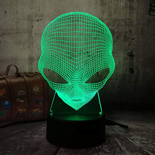 Movie Cosmic Space Alien ET Emoji Lamp Table Desk 3D Night Light 7 Color Change USB LED Home Decoration Wireless Flashlight Atmosphere Bulb Halloween Christmas Gift(Alien Head)