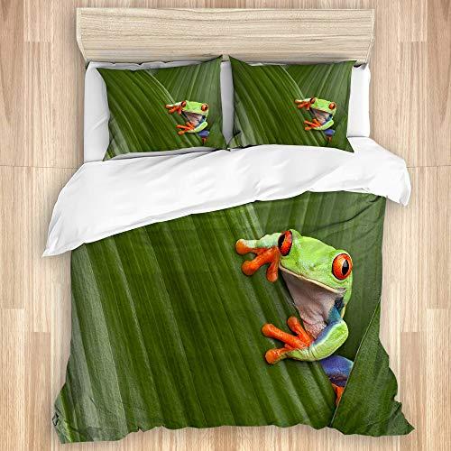 LISNIANY Bettwäsche Set,Roter gemusterter Laubfrosch, der exotisches Makroblatt Costa Rica Rainforest Tropical Nature versteckt,1 Bettbezug 240x260cm+2 Kopfkissenbezug 80x80cm