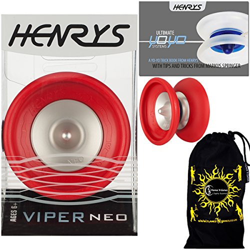 Henrys VIPER NEO Pro YoYo (Red) Professional Off String (1A, 4A) Bearing YoYo +Instructional Booklet of Tricks & Travel Bag! Top Of The Range YoYo! Pro YoYos For Kids and Adults!