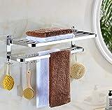 WAN Toallero, Toallero Doble montado en la Pared, Toallero de Acero Inoxidable para baño, Toallero múltiple, Rejilla para baño, para Cocina Baños Lavabos Armarios-8-50cm