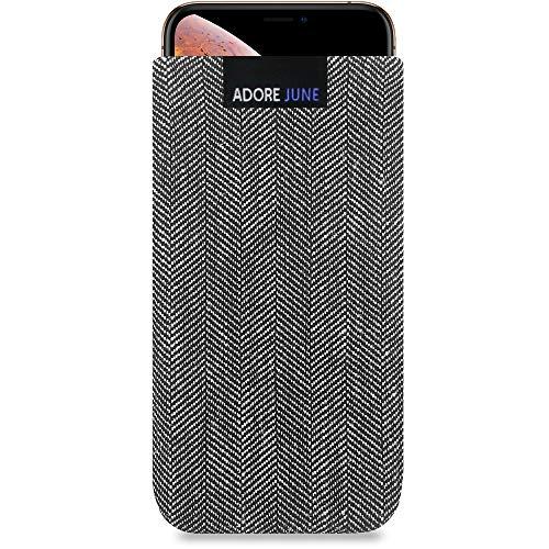 Adore June Business Tasche für Apple iPhone X & iPhone XS Handytasche aus charakteristischem Fischgrat Stoff - Grau/Schwarz | Schutztasche Zubehör mit Bildschirm Reinigungs-Effekt | Made in Europe