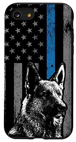 iPhone SE (2020) / 7 / 8 Thin Blue Line Flag K-9 German Shepherd Police Dog Gift Case