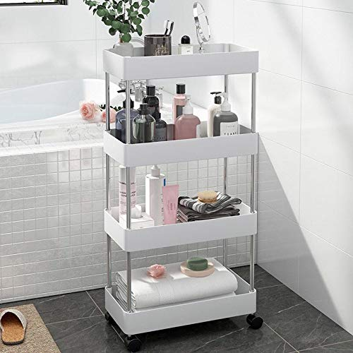 exilot Storage Cart 4-Tier Slide Out Rolling Utility Storage Organizer Shelf Rack Mobile Shelving Organization and Storage for Bathroom Kitchen Laundry Pantry Office Narrow Places