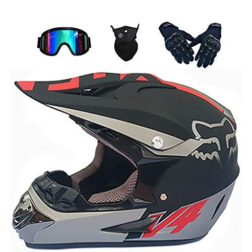 YXLM - Casco de motocross para niños y adultos, incluye guantes, máscara facial, con gogle, casco de moto para niños, motocross, Off-Road, casco de montaña BMX Downhill (E,L)