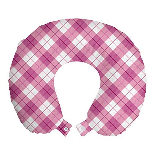 ABAKUHAUS Abstrakt Reisekissen Nackenstütze, Diagonal Pastellfarbe, Schaumstoff Reiseartikel für Flugzeug und Auto, 30x30 cm, Fuchsia Pale Pink Weiß