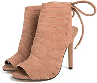 Thin Strap High Heel Sandals Women's Open Toe High Heeled (Color : Apricot, Size : 37EU)