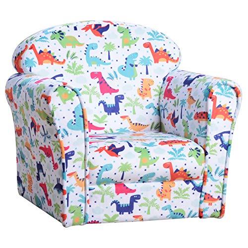 HOMCOM Children Armchair Kids Sofa Tub Chair Seat Cartoon Dinosaur Pattern Bedroom Flannel Wooden Frame Non-slip Playroom Seater