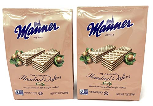 Manner Wafers Hazelnut Cream Filled Wafers 7oz Bag (Pack of 2)