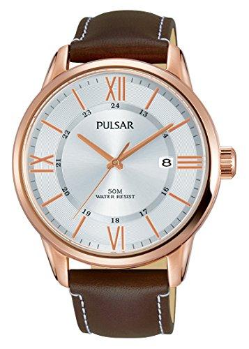 Pulsar Herren Analog Quarz Uhr mit Leder Armband PS9472X1