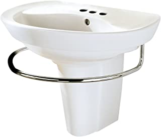 American Standard 0268.444.020 Ravenna Wall-Mount Pedestal Sink with 4-Inch Faucet Holes, White