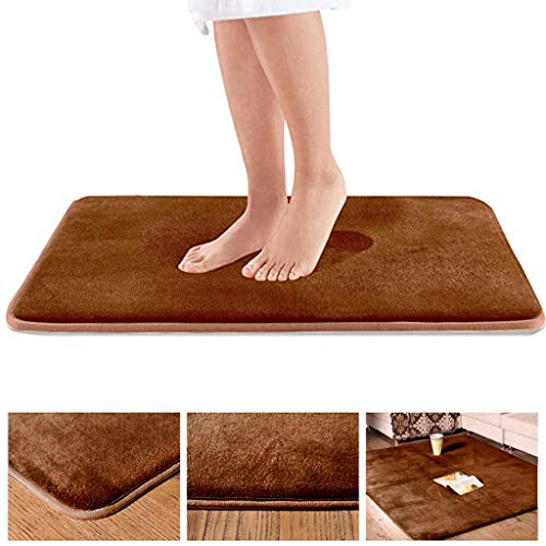 Ywoow Absorbent Pad, Memory Bath Mat Anti Slip Bath Rug with Strong Absorbent Machine Washable Shower Rug, Coral Velvet Sponge Carpet Bathroom Door Absorbent Non-Slip Mat Brown