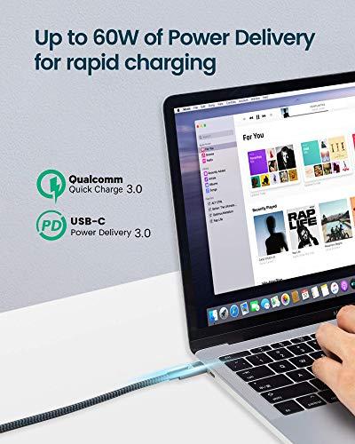 RAMPOW USB C auf USB C Kabel, USB 3.1, 1M, 60W 20V/3A PD Schnellladekabell mit Nylon Geflochtenes für MacBook Pro, iPad Pro, ChromeBook Pixel, Samsung, Huawei- Grau