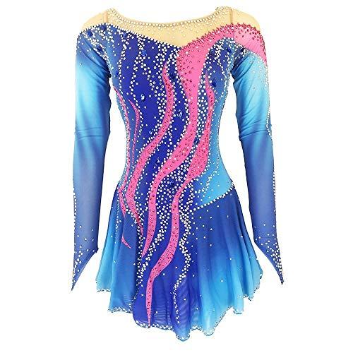 LWQ Eiskunstlauf-Kleid-Frauen-Mädchen Eislaufen Kleid Blau Open Back Spandex hohe Elastizität-Training Skating Wear,Child 12