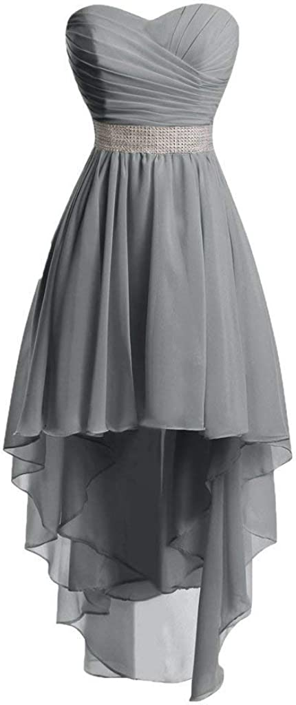 Natasha Women's Sweetheart Pleated Bridesmaid Dress High Low A Line Maid of Honor Gowns 067