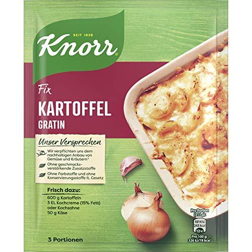 Knorr Fix Kartoffel Gratin (mit fein abgestimmter Gewürz- und Kräutermischung ohne geschmacksverstärkende Zusatzstoffe und ohne Farbstoffe), 3 Portionen