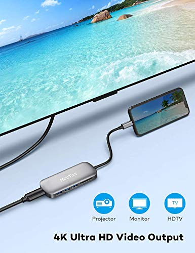 USB C Hub, HooToo USB C Adaptador/Cargador USB C a USB 3.1de Tipo C Puerto de Carga, USB C a Salida HDMI, Lector de Tarjetas, 3Puertos USB 3.0