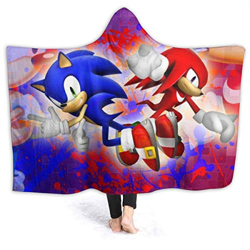 CHICLI Spring Wearable Blankets for Kids Adult, Super Sonic The Hedgehog and Knuckles The Echidna Hooded Blankets for Game Party, Car, Better Quality Cloak Shawl Wrap, 60 x 50 Inch