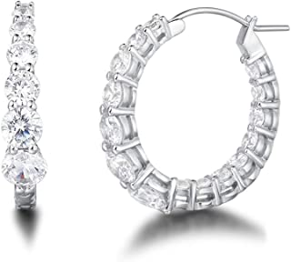 White Gold Plated 925 Sterling Silver Inside-Out Cubic Zirconia CZ Click-Top Graduated Hoop Earrings Dainty Fine Jewelry For Women Girls, Diameter 1