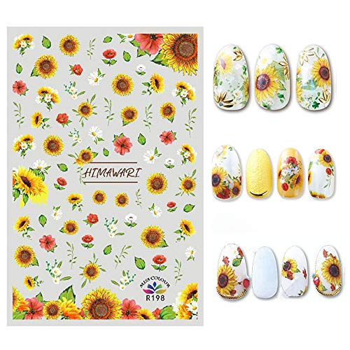 Bonnie-Sam 8 Sheets Various Flowers Nail Sticker Self Adhesive Sunflower Decals for Women Fingernail DIY Decoration Manicure Charms Tip Decor