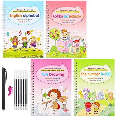 CJFHBVUQ Cuaderno de caligrafía Reutilizable, Juego de Cuadernos de caligrafía mágica, Cuaderno de Entrenamiento de Ranura Reutilizable de Escritura a Mano para niños Adultos
