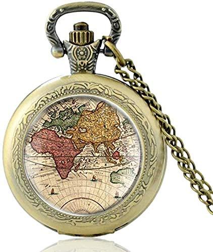 Yaoliangliang Collar Vintage World Map Cúpula de Cristal Reloj de Bolsillo de Cuarzo Clásico Hombres Mujeres Collar de Bronce Colgante Regalos