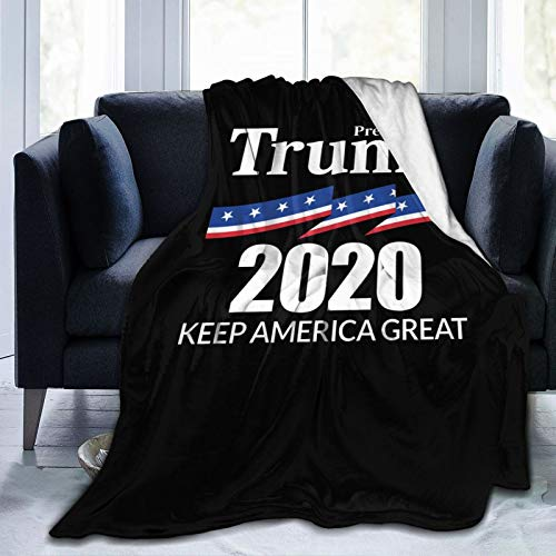 Jocasa President Trump 2020 Blanket Flannel Fleece Throw Lightweight Cozy Couch Bed Soft and Warm Plush Quilt for Thanksgiving, Halloween, 80'x60' for Adults
