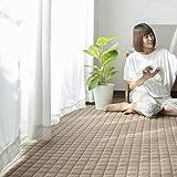 カーペット キルトラグ 洗える ラグマット 3畳 190×240 夏用 綿100% 防ダニ 抗菌 防臭 滑り止め付 床暖房 ホットカーペット対応 オールシーズン使えます 冬用 おしゃれ 無地 居間用 食卓用 ダークベージュ (VK Living)