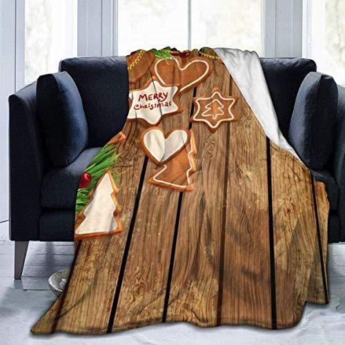 AEMAPE Manta de Tiro de Navidad de Madera marrón café, Manta de Cama de Lana Suave, Manta Ligera y cálida para sofás de Cama de Viaje 60x80in