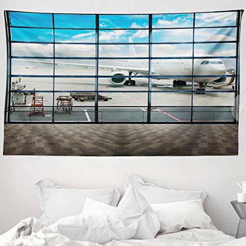 ABAKUHAUS Modern Wandteppich & Tagesdecke, Flugzeuge Blauer Himmel Foto, aus Weiches Mikrofaser Stoff Für den Wohn & Schlafzimmer Druck, 230 x 140 cm, Himmelblau Weiß Dunker Nachtblau