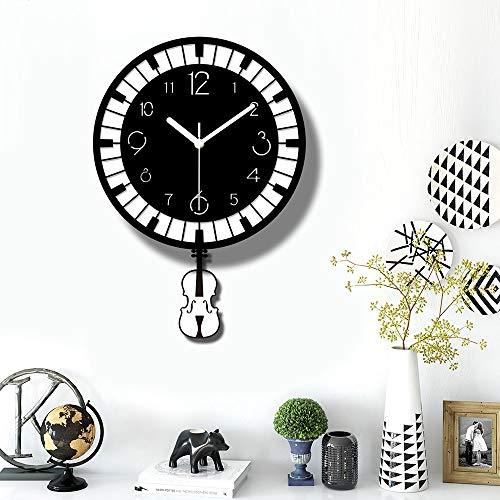 Miwaimao Reloj de Pared El Columpio Música Violín De Acrílico del Reloj De Pared Negro Teclas Blancas Nórdica Modern Home Living Comedor Decoraciones 30 * 43cm Silencioso Simple De La Manera Creativa