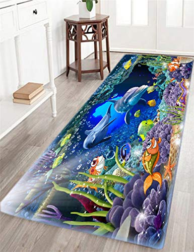 Bathroom Rug Non-Slip Flannel Microfiber Bath Mat Underwater World Dolphin Area Rug with Water Resistant Rubber Back Anti-Slip for Kitchen and Bathroom 2'x6'