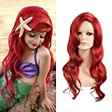 SARLA Girls Red Wig Long Curly Wavy Mermaid Wig Synthetic 24 Inch for Cosplay Party Halloween Costumes High Temperature Fiber (Ariel for Child)