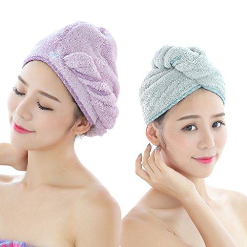 Bonnets de douche Superfine Fibre Cheveux Serviette Bain tête enveloppé écharpe Chapeau Rapide Sec Deux chargés (Color : 1#)