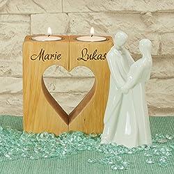 Geschenke 24: Kerzenständer Herz – graviertes Teelichthalter-Set mit Wunschnamen