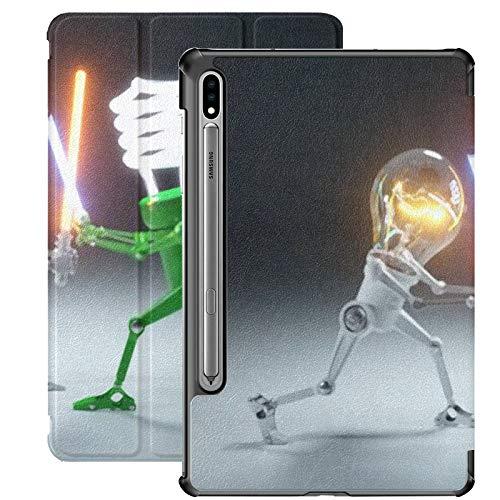 Galaxy Tablet S7 Plus Custodia da 12,4 pollici 2020 con supporto per penna S, Confronto Personaggi dei cartoni animati Lampadina a LED Custodia protettiva Folio per supporto sottile per Samsung