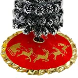 Hniunew Weihnachtsbaum Baumrock Slip Rock Teppich Rentier Roter Weihnachtsteppich Weihnachtsbaum Rock PlüSche Weiche Weihnachtsbaum Decke ChristbaumstäNder Teppich Baumdecke 100Cm...