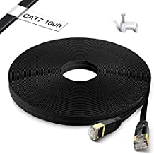 Cat 7 Ethernet Cable 100 ft – Flat Internet Cable High Speed 100 Foot Network Cord with RJ45 Connectors, Clips & Labels – Cat7 Long 100ft LAN Wire for Computer, Laptop, PC, Router, Modem, Printer, TV