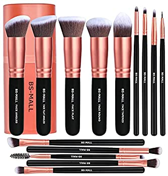 BS-MALL Makeup Brushes Premium Synthetic Foundation Powder Concealers Eye Shadows Makeup 14 Pcs Brush Set Rose Golden 1 Count