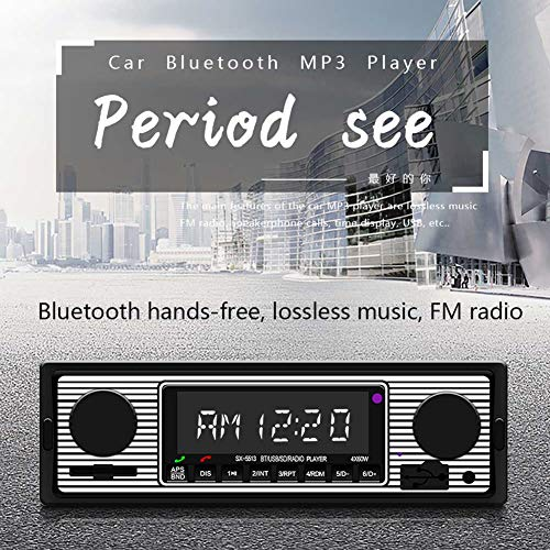 BEESCLOVER Bluetooth Vintage Auto Radio MP3 Player Stereo USB AUX Classic Car Stereo Audio Silber Schwarz